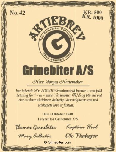 Grinebiter Collection Stock Certificate Aksjebrev