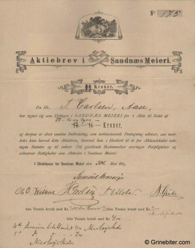 Sandnes Meieri aksjebrev old stock Certificate