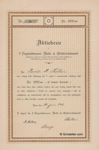 Dugstadfossens Mølle & Elektrisitetsverk Stock Certificate Aksjebrev