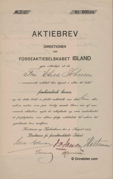 Island Fosseaktieselskabet Stock Certificate Aksjebrev