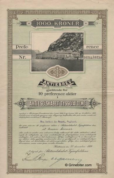 Tyssefaldene Stock Certificate Aksjebrev