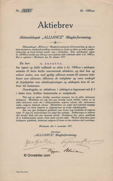 Alliance Mæglerforretning Stock Certificate Aksjebrev