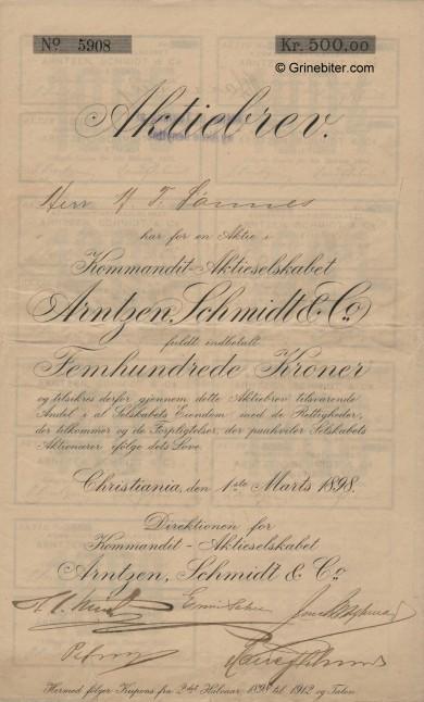 Arentzen, Schmidt og Kommandit - old stock Certificate