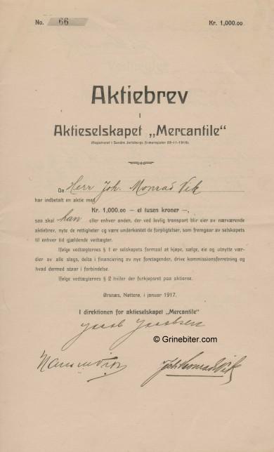 Mercantile A/S Stock Certificate Aksjebrev