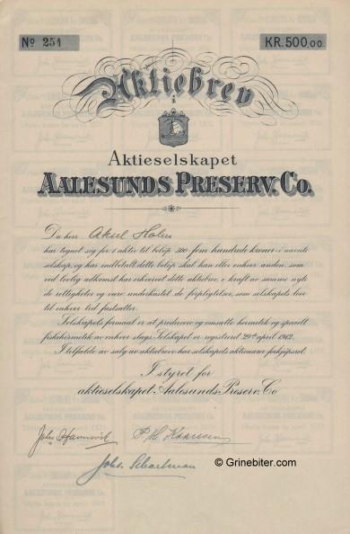 Aalesund Preserv. Co,A/S Stock Certificate Aksjebrev
