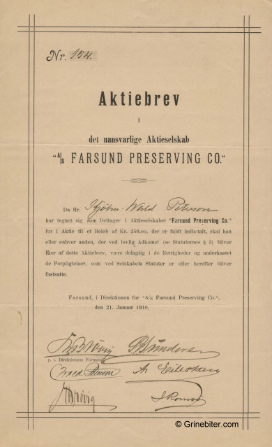 Farsund Preserving CO AS Stock Certificate Aksjebrev