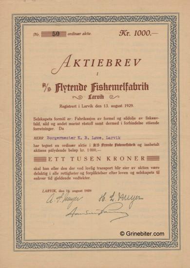Flytende Fiskemelfabrik Stock Certificate Aksjebrev