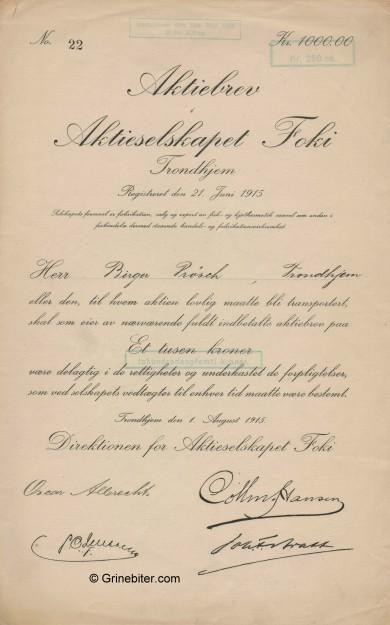 Foki Stock Certificate Aksjebrev