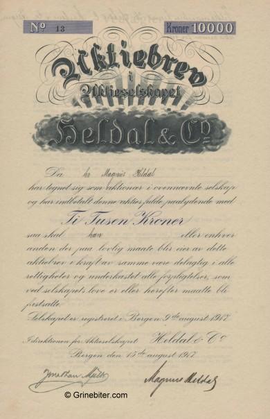 Heldal & Co A/S Stock Certificate Aksjebrev
