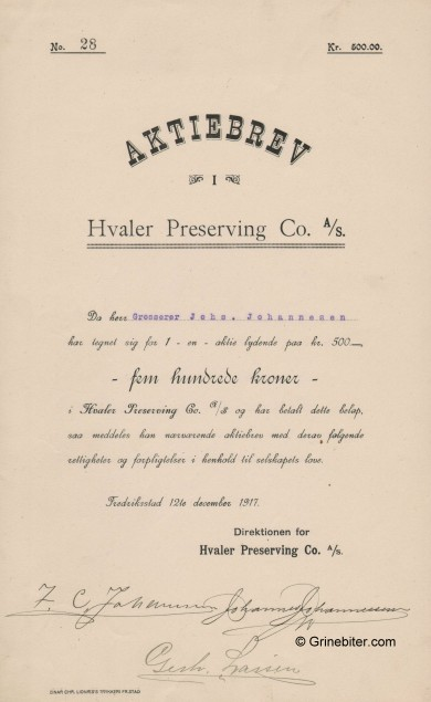 Hvaler Preserving Co. A/S Stock Certificate Aksjebrev