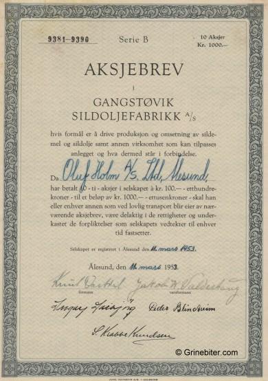 Gangstøvik Sildoljefabrikk Stock Certificate Aksjebrev
