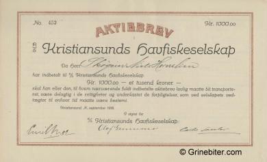 Kristiansunds HavfiskeS. Stock Certificate Aksjebrev