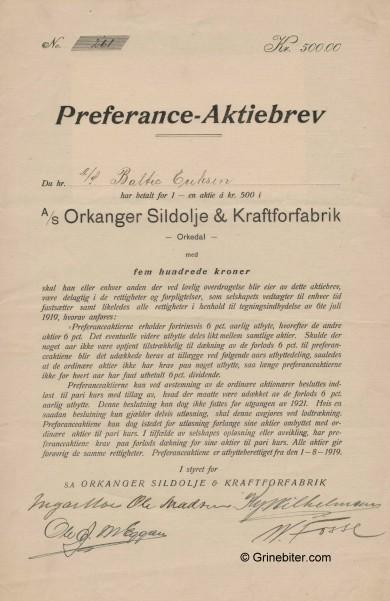 Orkanger Sildolje PRF A/S Stock Certificate Aksjebrev