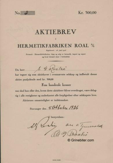 Roal Hermetikfabrik A/S Stock Certificate Aksjebrev