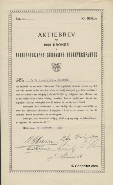 Sunnmøre Fiskevegn Fab. Stock Certificate Aksjebrev