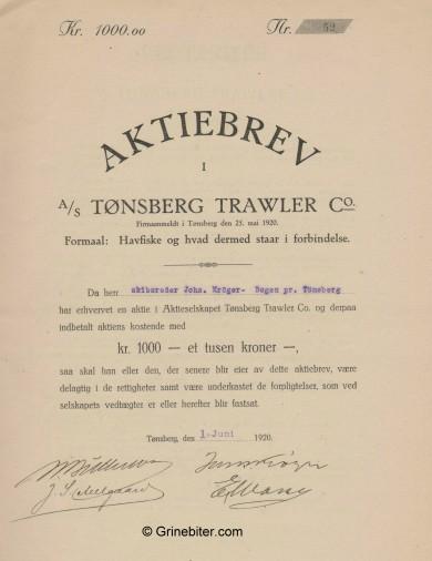 Tønsberg Trawler Co A/S Stock Certificate Aksjebrev