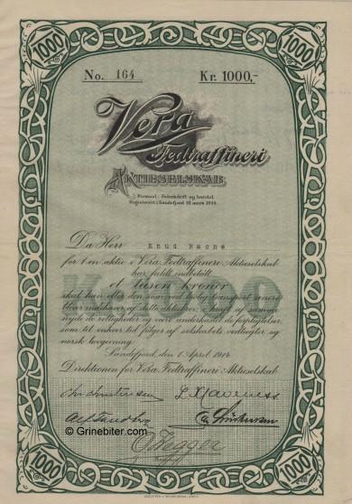Vera Fedtrafineri A/S Stock Certificate Aksjebrev