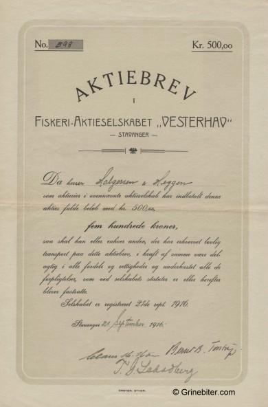 Vesterhav Fiskeri-A/S Stock Certificate Aksjebrev