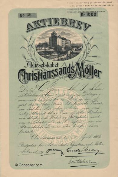 Christiansands Møller aksjebrev old stock Certificate