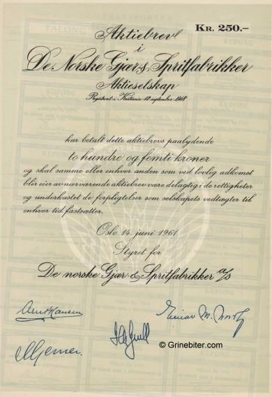 De Norske Gjær & Spritfabrikker Stock Certificate Aksjebrev