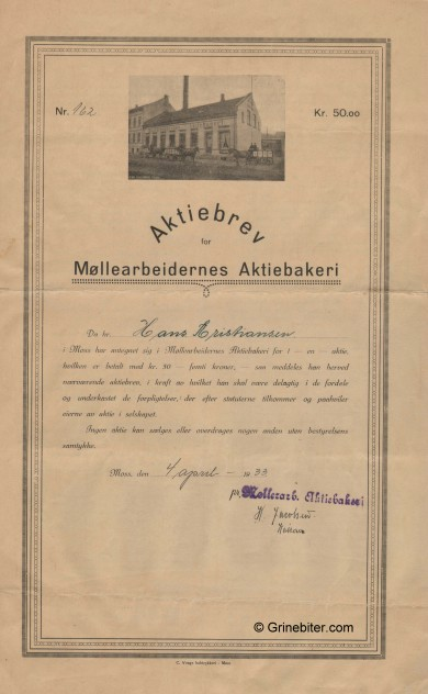 Møllearbeidernes Aktiebakeri Stock Certificate Aksjebrev