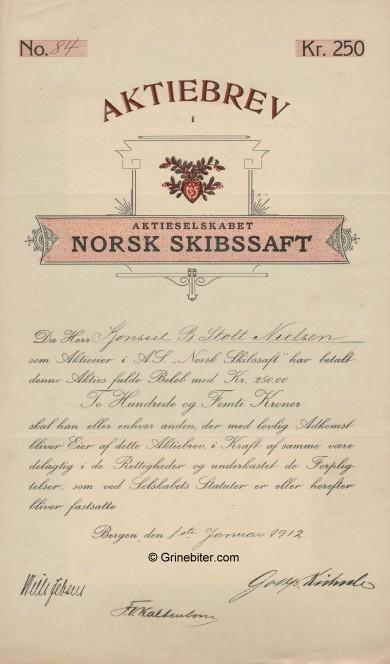 Norsk Skibssaft Stock Certificate Aksjebrev