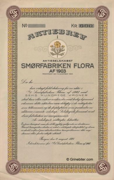 Smørfabrikken Flora Stock Certificate Aksjebrev