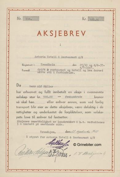 Astoria Hotell & Restaurant A/S Stock Certificate Aksjebrev