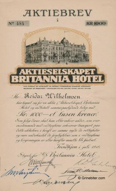 Britania Hotel A/S Stock Certificate Aksjebrev