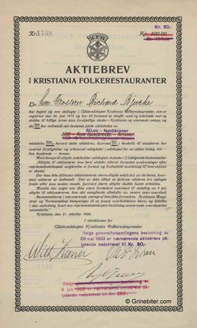 Kristiania Folkerestaurant. Stock Certificate Aksjebrev