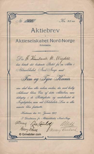 Nord-Norge Stock Certificate Aksjebrev
