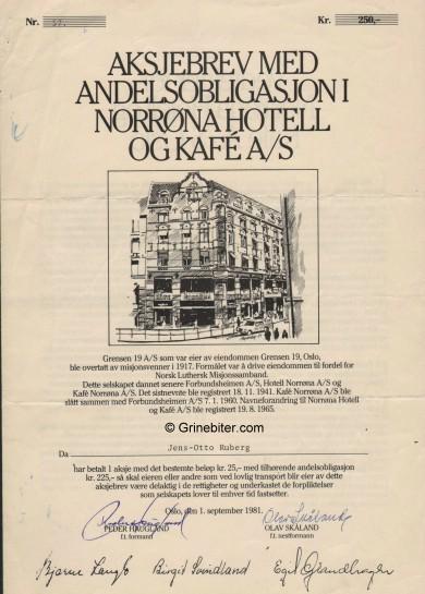 Norrøna Hotell og Kafe A/S Stock Certificate Aksjebrev