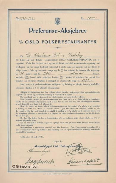 Oslo Folkerestatau,PRF. Stock Certificate Aksjebrev