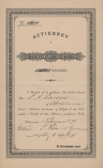 Societeten aksjebrev old stock Certificate