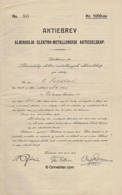 Almindelig Elektro-Metallurgisk  Stock Certificate Aksjebrev