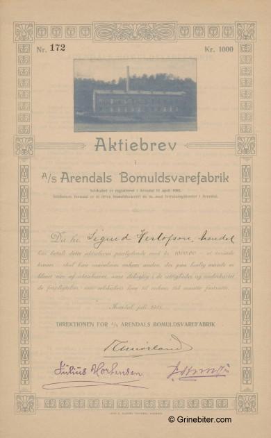 Arendals Bomuldsvarefabrik Stock Certificate Aksjebrev