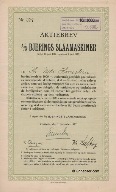 BjeringsSlaamaskiner aksjebrev stock Certificate
