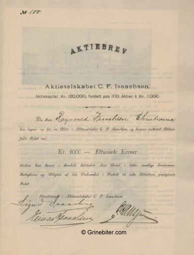 C. F. Isaachsen A/S Stock Certificate Aksjebrev