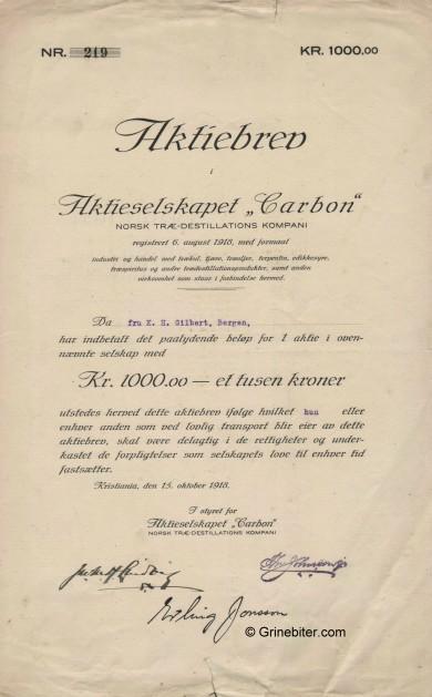 Carbon Stock Certificate Aksjebrev