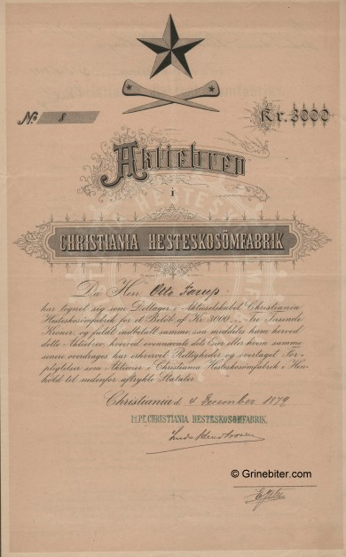 Christiania Hesteskosömfabrik Stock Certificate Aksjebrev