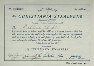 Christiania Staalverk Stock Certificate Aksjebrev