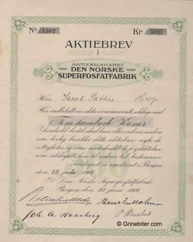 Den Norske Superfosfatfabrik Stock Certificate Aksjebrev