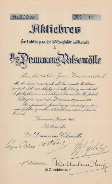 Drammens Valsemölle Stock Certificate Aksjebrev