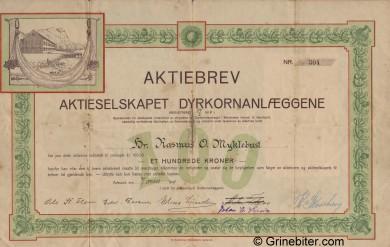 Dyrkornanlæggene Stock Certificate Aksjebrev