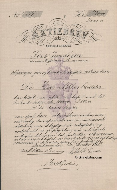 Foss Jernstöperi Stock Certificate Aksjebrev