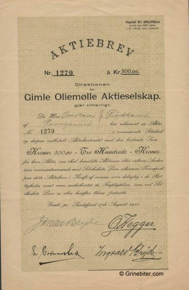 Gimle Oliemølle A/S Stock Certificate Aksjebrev