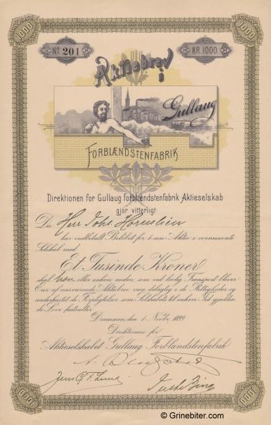 Gullaug Forblændstenfabrik Stock Certificate Aksjebrev