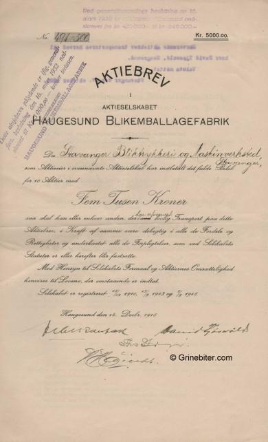 Haugesund Blikemballagefabrik Stock Certificate Aksjebrev