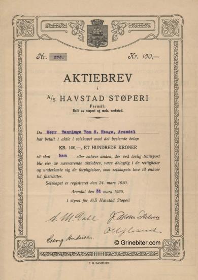 Havstad Støperi Stock Certificate Aksjebrev