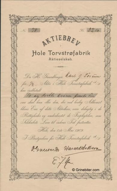 Hole Torvstrøfabrik Stock Certificate Aksjebrev